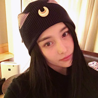 Sailor Moon Cosplay Luna Cat Pattern Beanie