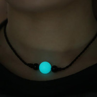 "Green Blue Night-luminescent Pearl Choker Necklace on Black Leather Cord 14"" + Gift Box"