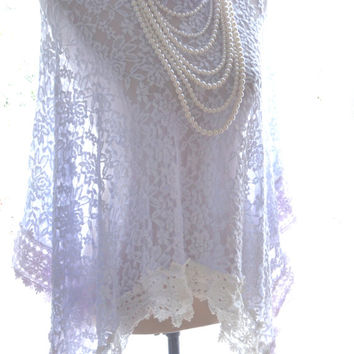 Lace tunic, Mori girl shabby lace top, French lace cottage poncho, shawl, Boho chic clothes, Boho gypsy cowgirl top, True rebel clothing