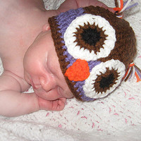 "Brown and Green or Purple Owl Hat NB, 0-3, 3-6  Months  Baby Shower Gift, Infant, Perfect Photo Prop ""Owl always love you"""