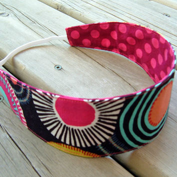 Women's Reversible Fabric Headband - Cotton mod dots circles bold flowers red pink brown white blue teen adult - Bandeau adulte coton