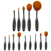 5pcs/4pcs Toothbrush Shape Foundation Makeup Brushes Set Cosmetic Big Oval Brush Tool