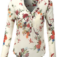 LE3NO Womens Roll Up Long Sleeve Floral Print Chiffon Blouse Top