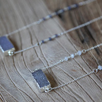 Crystal druzy and sterling silver bar necklace in grey and lavender