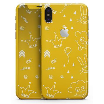 Bright Yellow Jester hat with Balloons - iPhone X Skin-Kit