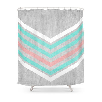 Society6 Teal, Pink And White Chevron On Silver Grey Wood Shower Curtains