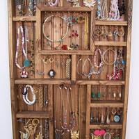 Jewelry Display Case, Handmade Wood Wall Art
