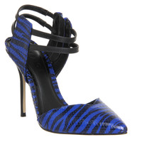 Office Satire Strappy Point Blue Snake Leather - High Heels