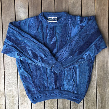 Vintage 90's Australian Wool Sweater Blue Unisex Slouchy Oversized Small Pure Wool Sweater Retro Coogi Cuggi Style Streetwear Hip Hop Jumper