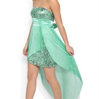 Strapless High Low Prom Dress with Sequin Bodice and Flyaway Skirt