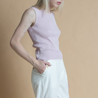 Vintage 90s Pale Lavender Ribbed Silk and Cotton Sleeveless Tank | S