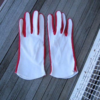 Amazing Vintage White Mod Gloves with Red Trim - Red Racing Stripe White Cotton Gloves - Women's XS-Small Red Trim White Gloves