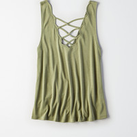 AEO Soft & Sexy Scalloped Double-V Tank, Olive