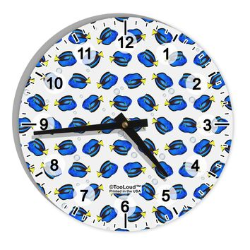 """Blue Tang Fish AOP 8"""" Round Wall Clock with Numbers All Over Print"""
