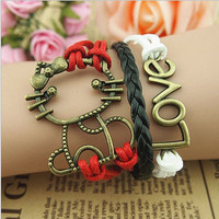 Multi-layered Red, Black and White Hello Kitty cat & Love Bronze Charms Bracelet 4 layers Friendship Women's teens