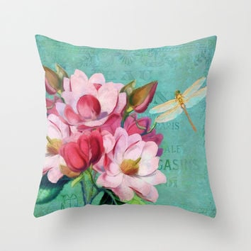 Verdigris, pink magnolia flower, dragonfly vintage look floral art Throw Pillow by Tina Lavoie's Glimmersmith | Society6