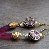 BLACK FRIDAY Druzy Earrings - Druzy Quartz Crystal Earrings - Quartz Crystal Point Earrings - Drusy Druzy - Long Earrings - Gold Wire Wrapp