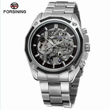 Forsining Silver Stainless Steel Steampunk Mechanical Gear Design Mens Watches Luxury Automatic Skeleton Wrist Watch