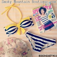 Very Cute 2PC Bikini Set-Black Stripes with Yellow Straps Top and Bikini- BS411 S/M - Smoky Mountain Boutique