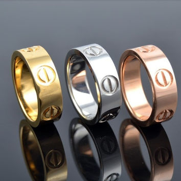 New Fashion Jewelry Screw Shape 3 Color Stainless Steel Unisex's Ring Best Gift!  = 6014617607