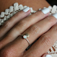 Opal ring, shell ring, mermaid ring, Sterling silver ring, stacking ring, midi ring, stackable ring