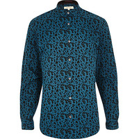 River Island MensGreen leopard print long sleeve shirt