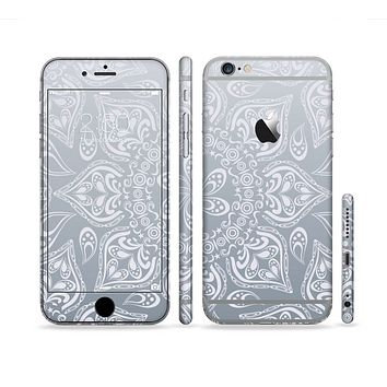 The Intricate White and Gray Vector Pattern Sectioned Skin Series for the Apple iPhone 6s Plus