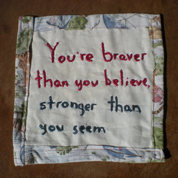 Blustery Day A.A.Milne quote Winnie the Pooh mug rug Braver than you believe