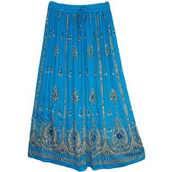 Womens Indian Sequin Crinkle Broomstick Gypsy Long Skirt - Turquoise