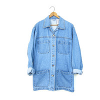 Vintage Denim Field Jacket Oversized Jean Jacket Chore Jacket Slouchy Shirt Coat Womens Light Wash Long Denim Barn Coat Small Medium DELLS