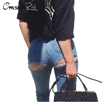 Casual Women's Ripped Jeans Button Fly