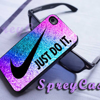 colorful sparkle nike just do it glitter case iphone 4/4s case, iphone 5 case, iphone 5s case, iphone 5c case, samsung galaxy s3/s4/s5 case