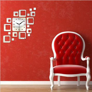 LMFUG3 Strong Character Diy Creative Acrylic Home Decor Living Room Quiet Mirror Wall Sticker Clock [4918605060]