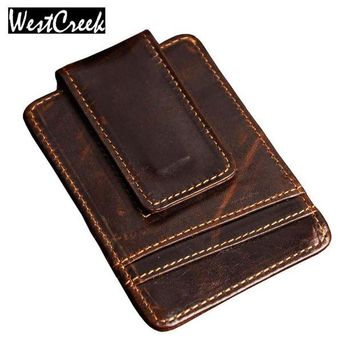 DCCKL6D Men money clips vintage genuine leather front pocket clamp for money holder magnet magic money clip wallet with card ID Case