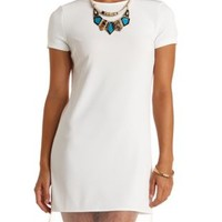 Organza Cut-Out Short Sleeve Shift Dress by Charlotte Russe - Ivory