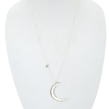 Bohemian Gypsy Witch Moon Child Etched Crescent Moon Pendant Necklace