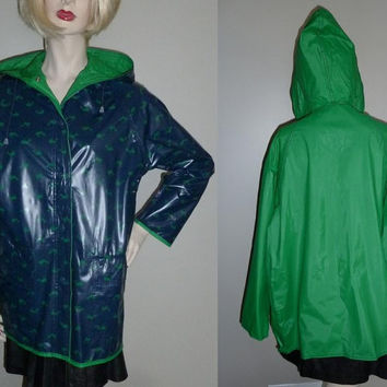 Vintage 1960s Whale Rain Coat - Reversible Blue Green Vinyl Raincoat - Hooded - Nautical Preppy - M