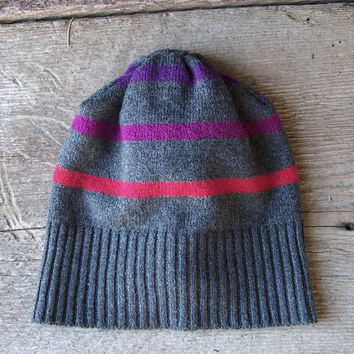 Ski hat soft stretchy beanie handmade recycled sweater upcycled eco clothing accessories charcoal grey pink stripe girls women