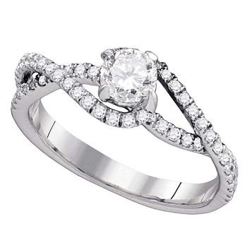 14k White Gold Women's Round Diamond Solitaire Slender Woven Bridal Engagement Ring 3/4 Cttw - FREE Shipping (US/CAN)