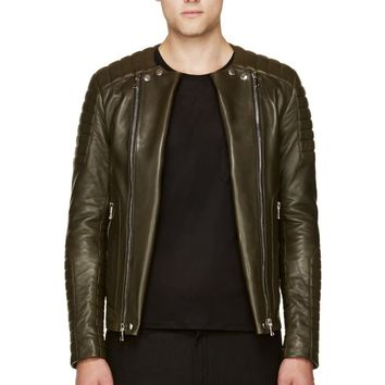Balmain Olive Green Leather Classic Biker Jacket