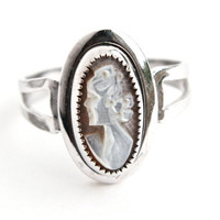 Vintage Sterling Silver Cameo Ring - Signed Sarah Cov Victorian Revival Retro Jewelry / Oval Mother of Pearl