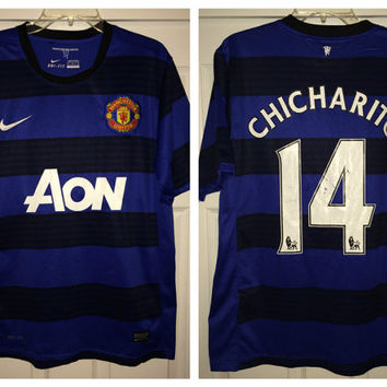 Sale!! Vintage Nike MANCHESTER UNITED Away Soccer Jersey MUFC Football Shirt #14 Chicharito