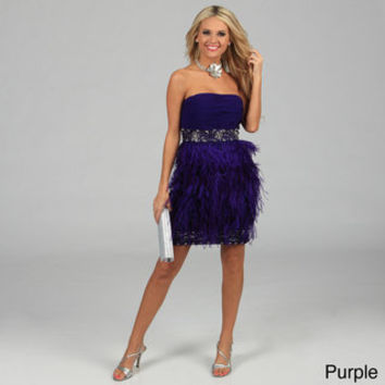 Issue New York Women's Strapless Feather Trimmed Sequin Evening Dress | Overstock.com