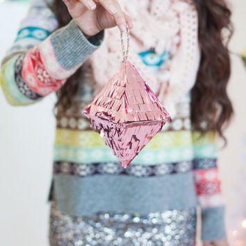 Mini Octahedron Crystal Ornament (Light Pink Metallic)