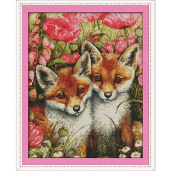 Lovely Fox Family - Counted Cross Stitch Kit