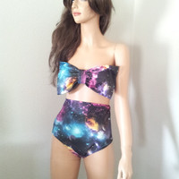 Galaxy bow bandeau bikini & high waisted bottoms