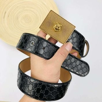 GUCCI Fashionable Men Women Retro Smooth Buckle Leather Belt