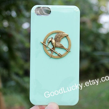Apple green,Mockingjay,iPhone 5c case,Catching fire,Mockingjay pin Iphone case,Hunger,studded iPhone 4 /5 case,Games,Jewelry,iPhone 4s case