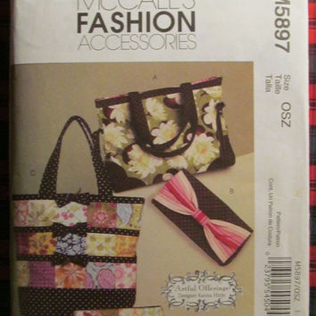 SALE Uncut McCall's Sewing Pattern, 5897! Handbags/Tote Bags/Diaper Bags/Purses/Women's/Teens/Misses/Girls Accessories