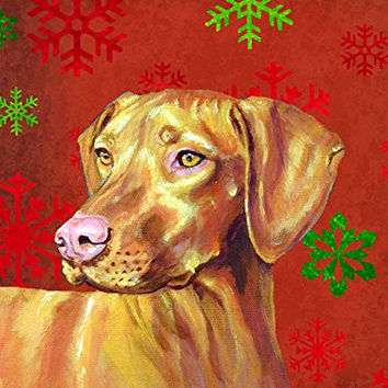 Caroline's Treasures LH9325GF Vizsla Red and Green Snowflakes Holiday Christmas Flag, Small, Multicolor